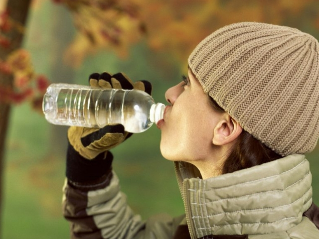 Beba agua no inverno